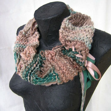 Hand Knit Infinity Scarf - Greens, Browns - Merino Wool Silk Blend - Inanna 2
