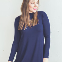 Long Sleeve Mock Neck Dress in Navy