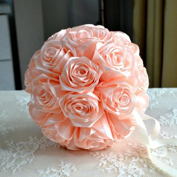 Flower girl kissing ball rose flowers Champage Wedding flower ball rose pomander wedding decoration cinturon flores boda