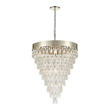 Morning Frost 10-Light Chandelier in Silver Leaf with Clear and Frosted Glass Drops