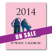 2014 Desk Calendar - Fashion Shoes - Pink - Fashionista - 13 Months - Holiday Gift - Jewel Case Calendar - Pink - Fashion - Holiday Gift