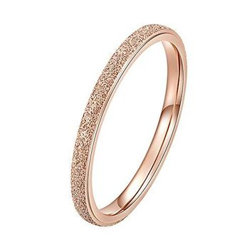 INRENG Womens Stainless Steel Sandblast Rose Gold Silver Thin Stacking Ring Engagement Wedding Band