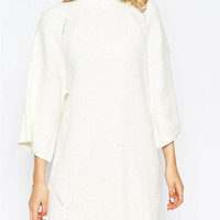 White Long Sleeve Knitted Mini Dress