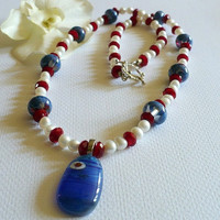 Jewelry, Necklace Set, Freshwater Pearls, Lampwork Beads. Glass Beads, Sterling Silver, Statteam