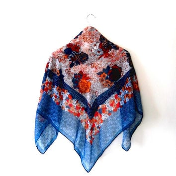 Floral / red / blue / orange / white / light / vintage / retro / 70s / shawl / scarf