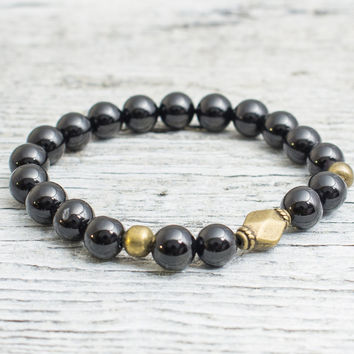 Black onyx beaded stretchy bracelet with bronze beads, mens bracelet, womens bracelet