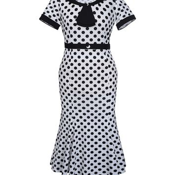 Streetstyle  Casual Vintage Tie Collar Mermaid Polka Dot Plus Size Bodycon Dress