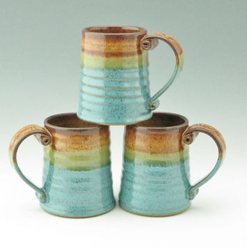 Honey Brown and Jewel Blue Beer Tankard Singles, Handmade Pottery Rustic Coffee Mug, Stoneware Tea Mug - A Lovely Holiday Gift