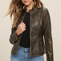Peace of Mind Washed Brown Vegan Leather Moto Jacket