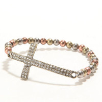 With Love From CA Rhinestone Cross Bracelet at PacSun.com