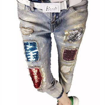 Jeans Women Fashion Boyfriend Vintage Girls Skinny Denim Pencil Beading Sequined Pants Female Casual Slim Trousers