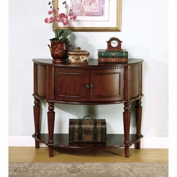 Brown Wooden Console Table With Curved Front & Inlay Shelf By Coaster
