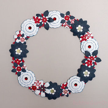 Independence Day Military Homecoming Wreath Red White Blue Paper Flowers 18 inch