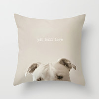 Pit bull love Throw Pillow by Laura Ruth