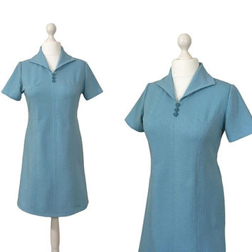 Powder Blue 1970's Dress | Vintage Mini Dress | Pull On Scooter Dress
