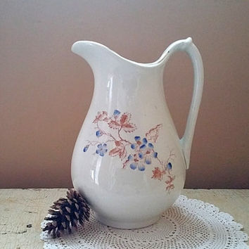 Goodwin Brothers Pearl White Ironstone Pitcher Hand Painted Blue Violets
