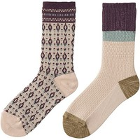 WOMEN HEATTECH SOCKS 2P (FAIR ISLE)