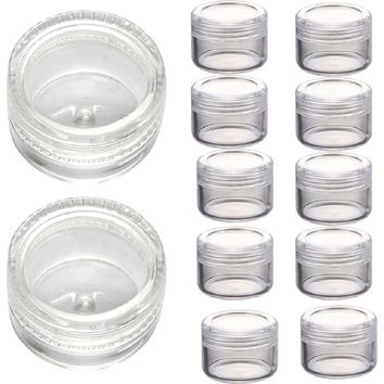 Ikevan 50pcs Clear Acrylic Travel Cosmetic Containers - 3 Gram Size Plastic Pot Jars Eyshadow Sample Container with Lids