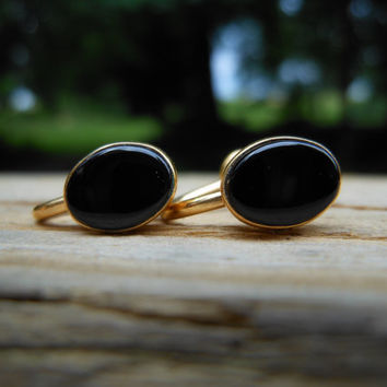 1950s Van Dell 12k Gold Filled Onyx Screw Back Oval Earrings Simplistic Minimal Small Dainty Designer Signed Mid Century Costume Jewelry