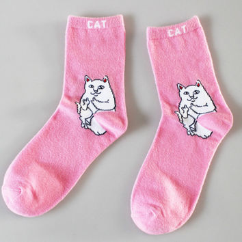 RIPNDIP Lord Nermal Size US 6-11 Pink Crew Socks