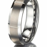 Men's Brushed Tungsten Promise Ring with Vertical Grooves only $89.00 - Mens Rings