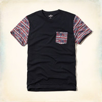 Contrast Pattern Pocket T-Shirt