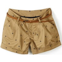 ROMWE | Cat Print Belted Brown Shorts, The Latest Street Fashion