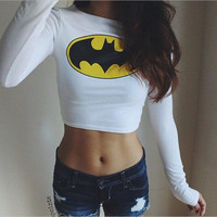 White Batman Logo Print Long Sleeve Cropped Sweater