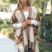 Plaid Open Front Poncho- Camel