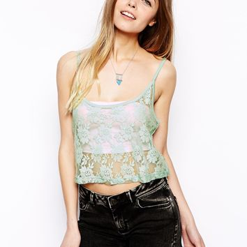 ASOS Cropped Cami Top in Lace