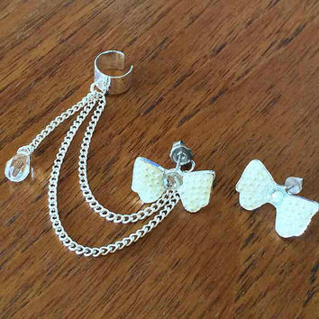 White Bow Crystal Ear Cuff Earring Set