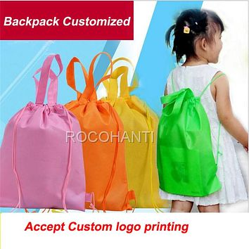 100Pcs Non woven Bag Drawstring Kids Shoulder Schoolbag Eco-friendly Customized LOGO Boy & Girls Backpack Tote Bags for School