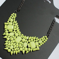 Neon Green Geometric Faux Gem Pendant Necklace