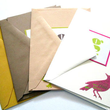 Thank You Cards Birds, set of 4