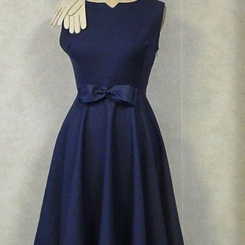 Navy circle skirt dress 1950s style HANDMADE Vintage Couture  Mad Men Rockabilly  Bombshell Princess Formal Wedding