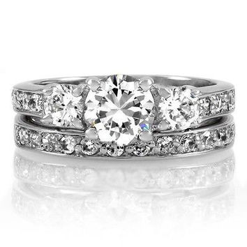 Three Stone Round Cut Cz Engagement Wedding Ring Set 5,6,7,8,9