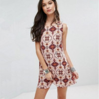 Fashion Back Deep V Backless Retro Totem Floral Print Round Neck Sleeveless Mini Dress