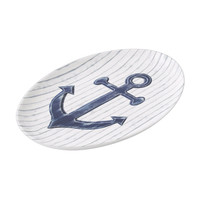 Porcelain Serving Platter, Nautical Navy Blue Anchor on wood background