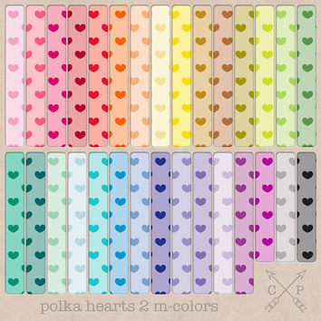Tinted Polka Hearts Digital Paper Pack 2 in all rainbow colors (M-Colors). Great for blog backgrounds or for scrapbooking and paper crafting