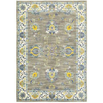 Oriental Weavers Joli 503D4 Grey/ Yellow Oriental Area Rug