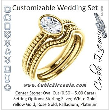 CZ Wedding Set, featuring The Cheyenne engagement ring (Customizable Oval Cut Bezel-set Solitaire with Beaded Filigree Three-sided Band)