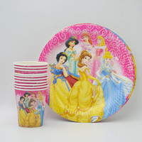 20pcs/set Princess Ariel/Snow White/Belle/Cinderella/Jasmine/Aurora Plates and Cups