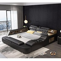 Genuine Leather Comfort Bed  For Home Furniture