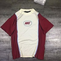 NIKE new fashion short-sleeved bust letter print Loose  Beige white Splice T-shirt C-AA-XDD  Burgundy