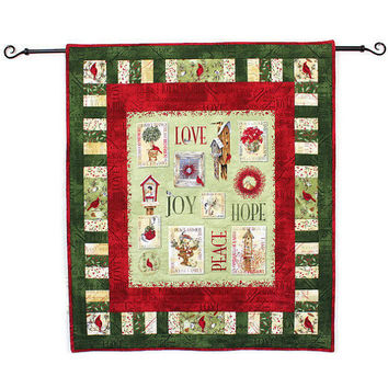 Quilted Christmas Wall Hanging, Peace Love Hope Joy Quilt, Christmas Decor with Birds in Red and Green, Quiltsy Handmade
