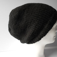 Slouchy Hat,  Hand Knitted Men's, Women's Slouchy Beanie, Knit Black hat, Warm Winter Hat, Toque hat