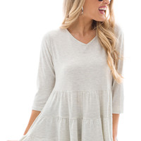 Tiered Babydoll Tunic, Oatmeal