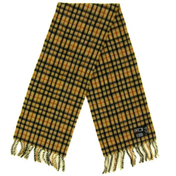 "SALE - Vintage Wool Plaid Scarf - , Camel Tan, Black, Orange, Preppy, Tartan, Menswear, Gift -Unisex Men's Women's 50"" Inch"