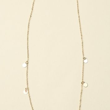 GOLD DANGLING CIRCLE CHARM NECKLACE