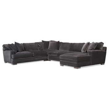 Teddy Fabric 4-Piece Chaise Sectional Sofa - Sectional Sofas - Furniture - Macy's